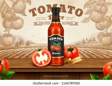 Ketchup retro ads with 3d illustration package on engraving style tomato orchard background