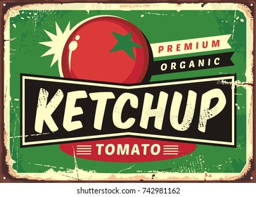 Ketchup retro sign with juicy tomato on green background. Vector illustration.