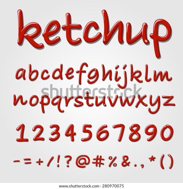Ketchup Vector Alphabet Tomato Sauce Abc Stock Vector