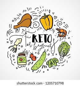 Keto for beginners vector sketch illustration - multi-colored sketch healthy ketogenic concept. Healthy keto diet for beginners with texture and decorative elements in a circle form - all nutrients