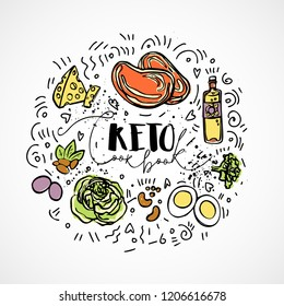 Keto Cook Book - vector sketch illustration - multi-colored sketch healthy concept. Healthy keto diet Cook Book with texture and decorative elements in a circle form - all nutrients, like fats, carbs