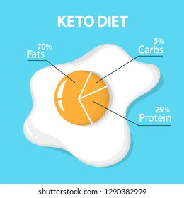 Keto diet concept. Egg diagram showing percentage of fats, carbs and protein. Low-carb nutrition. Ketogenic diet graphic. Isolated vector illustration in cartoon style