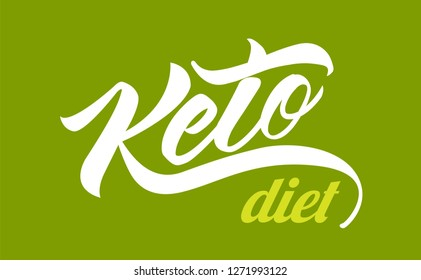 Keto Diet hand drawn vector lettering design. Vintage and cursive letters style. Design for t-shirt, banner, logo, cover. Vector Graphic