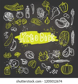 Keto Diet - Ketogenic food vector white and green sketch illustration. Healthy keto food - fats, proteins and carbs on one vector illustration. Low carbs ketogenic diet food isolated on white