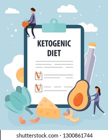 Keto diet vector illustration. Flat tiny persons concept with low carb products. Special nutrition