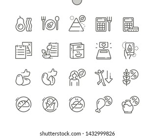 Keto diet Well-crafted Pixel Perfect Vector Thin Line Icons 30 2x Grid for Web Graphics and Apps. Simple Minimal Pictogram