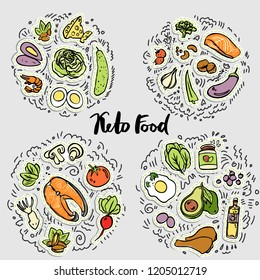 Keto Food, Ketogenic healthy food vector sketch illustration concept. Keto sticker illustration - food with decorative elements in four circles - all nutrients and food icons, like vegetables, meat