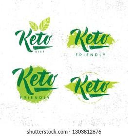 Keto Friendly Diet Nutrition Vector Design Elements On Rough Organic Textured Background.
