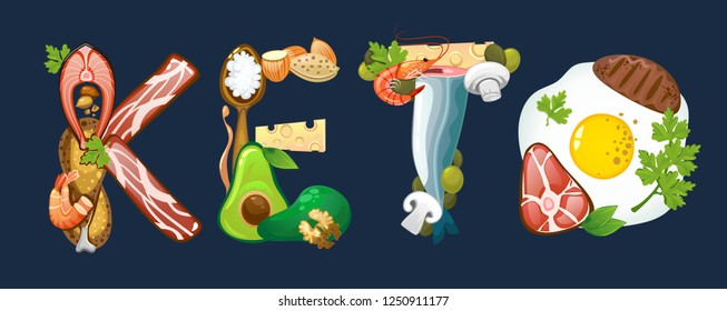 Keto inscription made of ketogenic diet food. Vector illustration