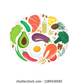 Keto nutrition. Ketogenic diet banner with organic vegetables, nuts and other healthy foods. Low carb dieting. Paleo meal protein and fat.