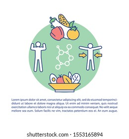 Ketogenic diet article page vector template. Healthy macronutrients. Loss weight. Keto food. Brochure, magazine, booklet design element with linear icons. Print design. Concept illustrations with text