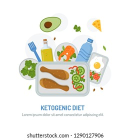 Ketogenic diet emblem. Meal planning menu for the day. The food in the containers with text area. Flat design. Vector illustration.