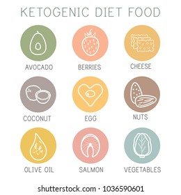 Ketogenic diet food, high healthy fats icon set