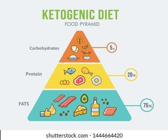 Ketogenic diet food pyramid infographic for healthy eating diagram, low carbs, high healthy fat, long term effect, protein and FAT. Vector icon banner.