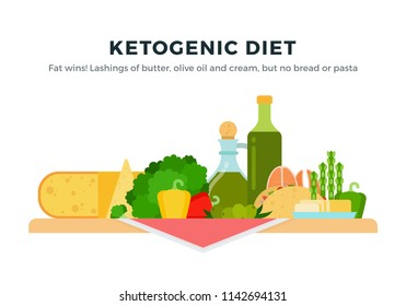 Ketogenic Diet Food vector flat set with cheese, olive oil, olives, fish, butter, asparagus, broccoli, bell pepper. Isolated on white background.