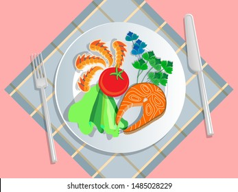 Ketogenic diet nutrition. White plate full of healthy food: Salmon, tomato, lettuce, basil, seafood, shrimp, crab - low carb high healthy fats. Vector illustration for keto friendly eating