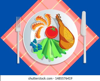 Ketogenic diet nutrition. White plate full of healthy food: Seafood, jamon, tomato, lettuce, basil, shrimp, crab - low carb high healthy fats. Vector illustration for keto friendly eating