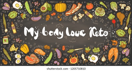 Ketogenic Diet vector sketch banner illustration. My Body Love Keto Healthy concept with food illustration on texture and decorative elements - fats, proteins and carbs on one Keto vector illustration