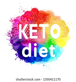 Ketogenic diet vector sketch banner header, henddrawn lettering with decorative elements. Keto vector illustration with watercolor background. Low carbs ketogenic diet, Keto diet label tag