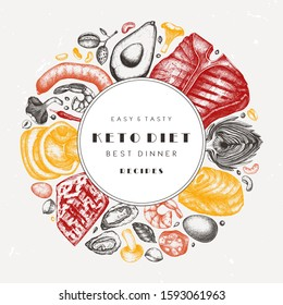 Ketogenic diet vector template. Hand drawn organic food and dairy products sketches. Keto diet wreath design  - meat, vegetables, grains, nuts, mushrooms. Perfect for menu, recipes, banner, flyer.