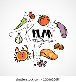 Ketogenic Plan - vector sketch illustration - multi-colored sketch healthy concept. Healthy keto diet Plan with texture and decorative elements in a circle form - all nutrients, like fats, carbs and