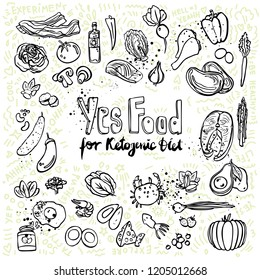 Ketogenic vector sketch illustration. Healthy keto food with texture and decorative elements - fats, proteins and carbs on one vector illustration. Low carbs ketogenic diet food isolated on white