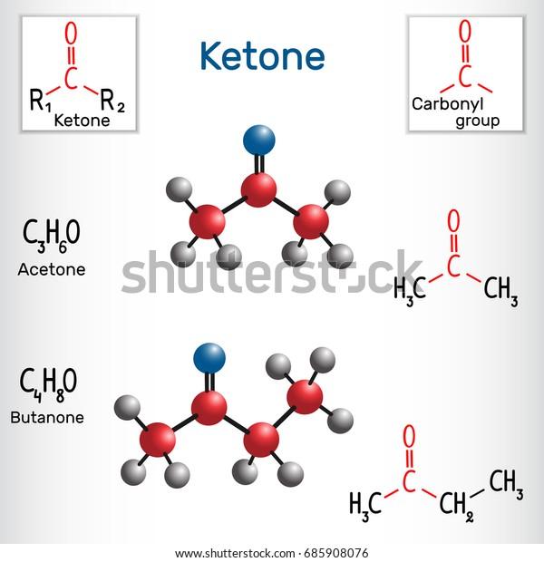 Ketone Alkanone Acetone Butanone Methyl Ethyl Stock Vector