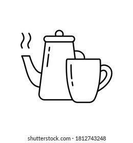Kettle with boiling water and cup. Linear icon of tea pair, morning coffee. Black simple illustration of brewing hot drink, kitchen utensils. Contour isolated vector pictogram, white background