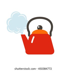 Kettle boils icon in a flat style. The concept boils head the newcomer. vector illustration in cartoon style