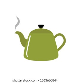 Kettle boils icon green flat vector illustration isolated eps 10
