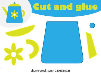 Kettle in cartoon style, education game for the development of preschool children, use scissors and glue to create the applique, cut parts of the image and glue on the paper, vector illustration
