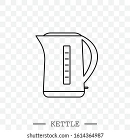 kettle icon line, linear vector. Teapot logo. kettle electric black thin line, linear. Black Kettle with handle icon isolated. Kettle in line art style vector icon. emblem, sign