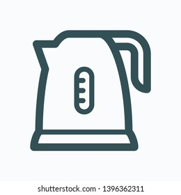 Kettle outline icon, electric kettle isolated vector icon