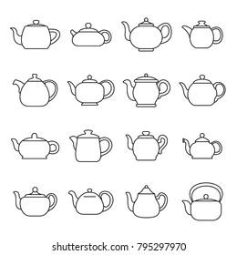 Kettle teapot icons set. Outline illustration of 16 kettle teapot alcohol logo vector icons for web