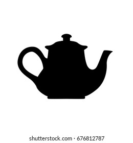 Kettle, teapot silhouette for laser cutting, shadow, black and white symbol.