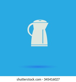 Kettle White flat vector simple icon on blue background with shadow