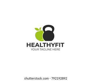 Kettlebell and apple logo template. Healthy food vector design. Fitness illustration