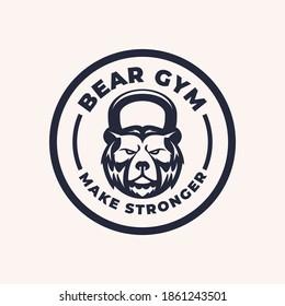 Kettlebell bear gym fitness logo mascot design