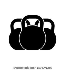 Kettlebell icon. Black silhouette. Vertical front view. Vector graphic illustration. Isolated object on a white background. Isolate.