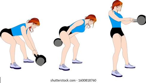 Kettlebell Swing Move -  Illustrated exercise