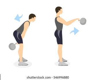 Kettlebell swings exercise on white background. Crossfit exercise for men.