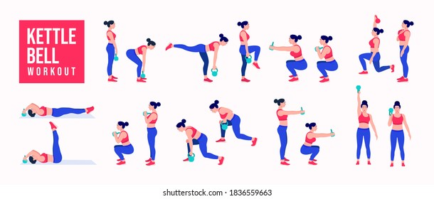 kettlebell Workout. women exercise vector set. Women doing fitness and yoga exercises. Lunges, Pushups, Squats, Dumbbell rows, Burpees, Side planks, Glute bridge, Leg Raise, Russian Twist .etc
