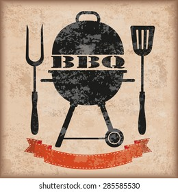Kettler barbecue with red ribbon on the vintage background. Eps 10 vector file.