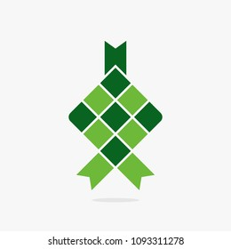 Ketupat asian traditional rice food vector green icon.