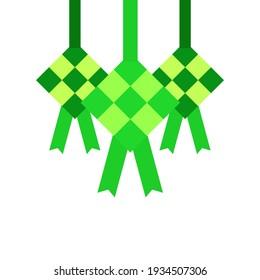 ketupat design vector simple idul fitri. flat style, eid mubarak, muslim's holiday.