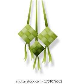 Ketupat, Eid al-Fitr food specials Islamic celebrations. isolated background eps file