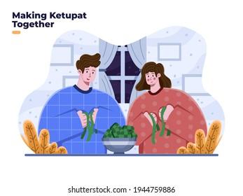 Ketupat food vector flat illustration. Eid al fitr muslim islamic traditional food. Making ketupat together at ramadan month or fasting month with family. Ramadan traditional food indonesia ketupat.
