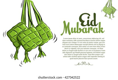 Ketupat Illustration for Eid Mubarak. Vector Sketch Illustration.