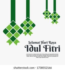 Ketupat illustration vector icon. Traditional rice dumpling food in leaf abstract symbol.