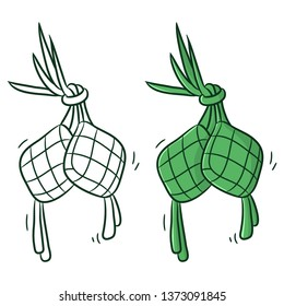 ketupat or traditional food, coloring vector